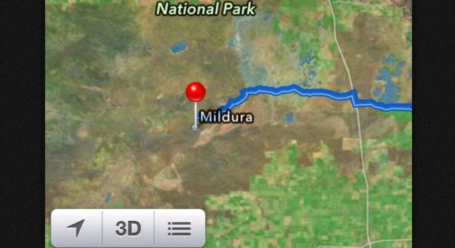 Skærmdump af Apples Maps-app, som viser byen Mildura midt ude i det rene ingenting i Murray Sunset National Park.