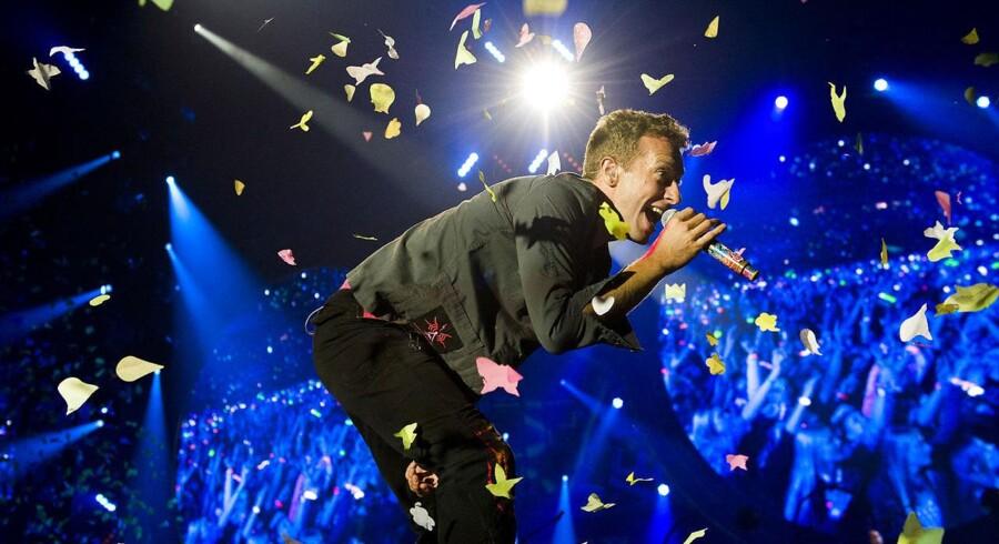 Coldplay med Chris Martin i spillede sidst i Danmark, da de besøgte i Parken i København den 28. august 2012.