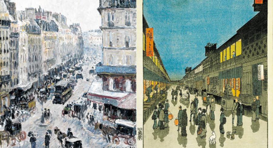 De japanske kunstneres måde at skabe billeder på kom som en åbenbaring for de franske kunstnere, der i midten af 1800-tallet var i opbrud i forhold til alle akademiske konventioner. Til højre ses Ando Hiroshiges træsnit Aftenscene i Saruwaka-gaden fra 1856. Til venstre er vi i Paris i Rue Saint-Lazare i Camille Pissaros maleri fra 1897, der tilhører Ordrupgaardsamlingen.