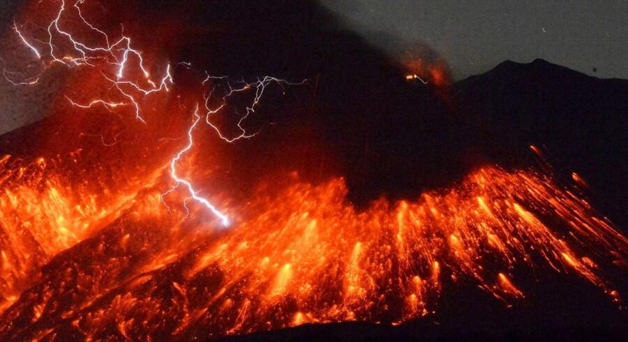Vulkanen Mount Sakurajima.