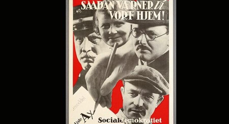 Tjenestemænd, husmødre og arbejdere forenes i den socialdemokratiske familie.