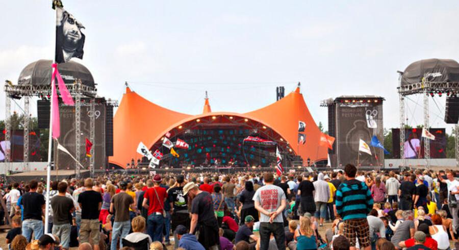 Mobiltelefonerne glødede på Roskilde Festival i weekenden, og der blev sat nye rekorder. Foto: Torben Christensen, Scanpix