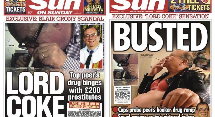 Søndag kunne tabloidavisen The Sun bringe hemmelige optagelser af det skotske medlem af overhuset, hvor han sniffer kokain i selskab med to prostituerede.
