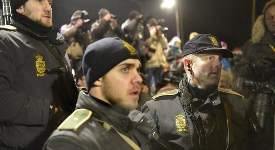 Politi massivt tilstede ved mindehøjtideligheden på Østerbro mandag d. 16 februar 2015.