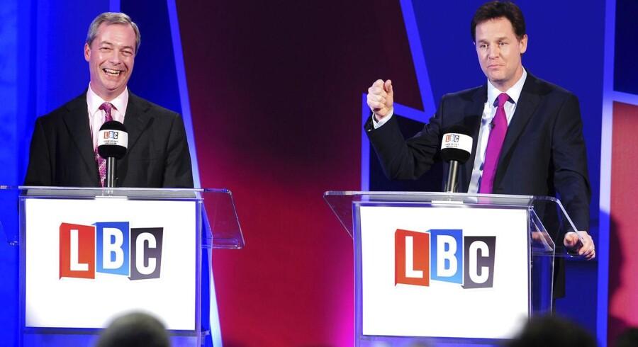 Lederen af partiet UKIP, Nigel Farage, og Liberaldemokraternes leder, Nick Clegg, stødte sammen i en TV-debat om EU.