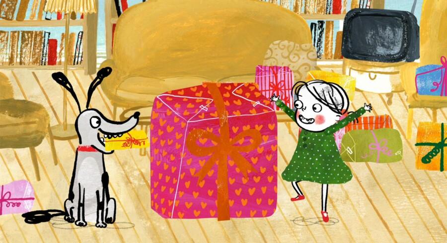 Lili på tre år er den absolutte hovedperson i Kim Fupz Aakesons Lili-serien, mens hunden Vovvov er en tilbagevendende bifigur. Foto: Illustration fra filmen »Lili er vild med gaver«.