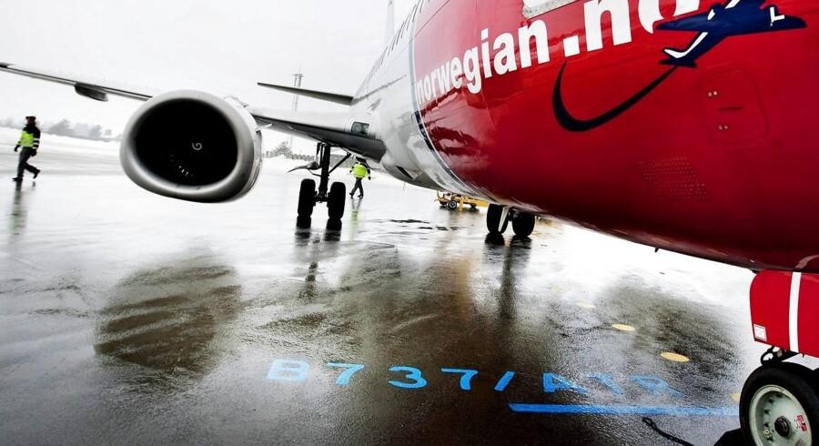 Arkivfoto. Flyselskabet Norwegian indstiller samtlige indenrigsflyvninger i Danmark, Norge og Sverige på grund af optrapningen af pilotstrejken fra onsdag.