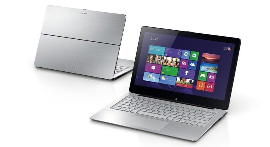 Sonys Vaio-serie af bærbare PCer omfatter både traditionelle bærbare og såkaldte hybrid-PCer, hvor skærmen kan tages af og fungere som tavle-PC. Foto: Sony