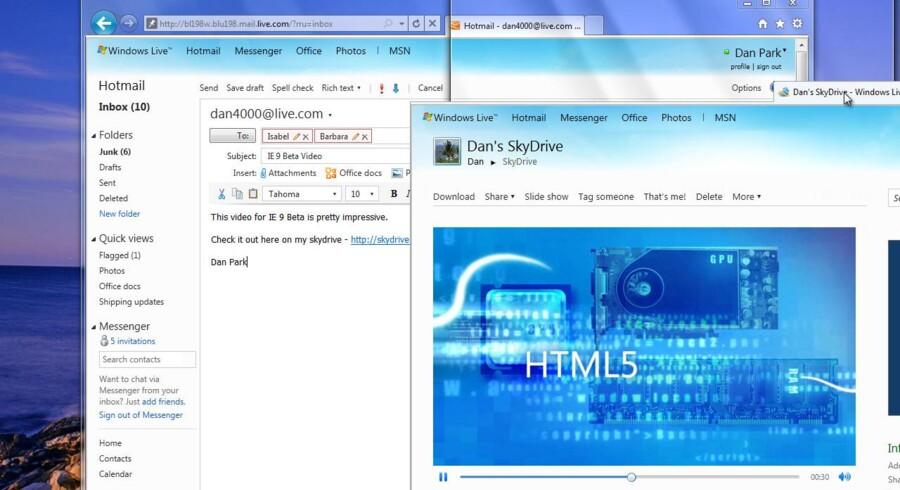 Som Google indførte det med Chrome, kan man i den nye Internet Explorer 9 trække faneblade ud af hovedprogrammet og dermed få separate vinduer, som kan gemmes enkeltvis i f.eks. Start-menuen. Selve hovedprogrammet har fået et minimalistisk udseende. Illustration: Microsoft