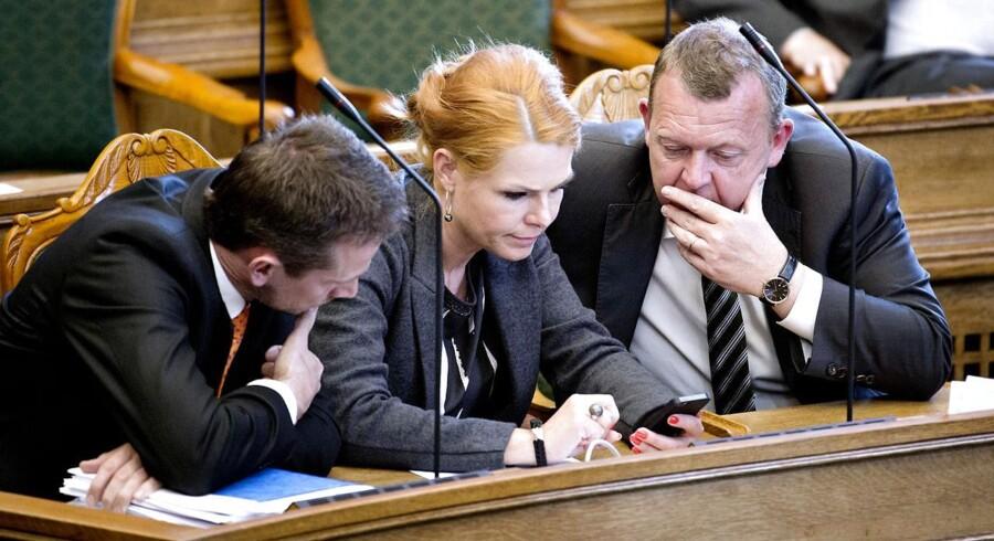 Kristian Jensen, Inger Støjberg og Lars Løkke Rasmussen (V).