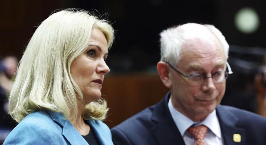 Danmarks statsminister Helle Thorning-Schmidt med EU-præsident Herman Van Rompuy til gårsdagens møde.