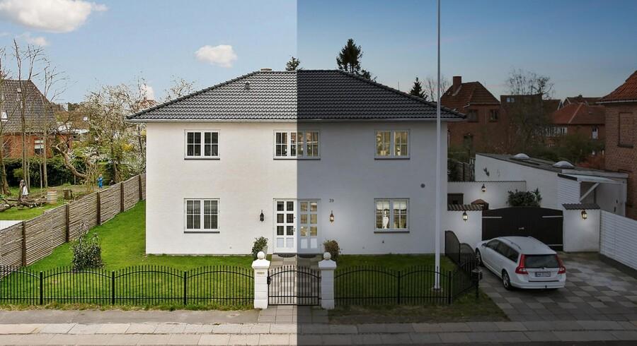 Billedet til venstre af dette hus på Amager er taget i daglys og siden manipuleret til billedet i højre side.
