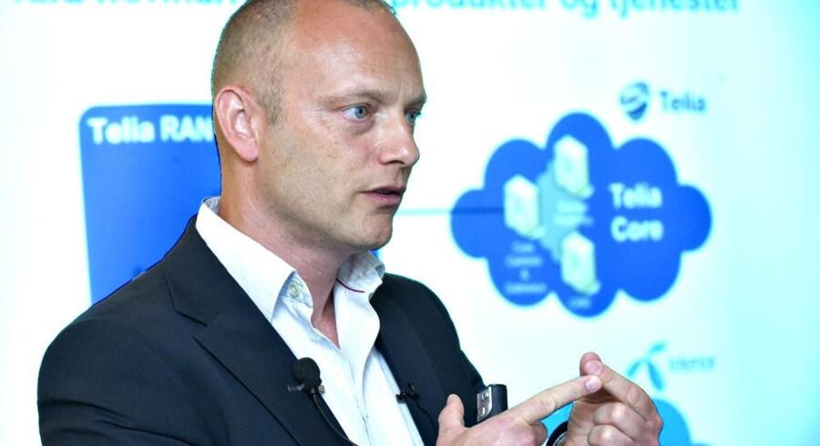 I juni 2011 meddelte Telias Søren Abildgaard (billedet) og Telenors Jon Erik Haug, at de to telegiganter slår deres mobilnet sammen i Danmark. Det ventes snart at kunne ske. Arkivfoto: Jens Nørgaard Larsen, Scanpix