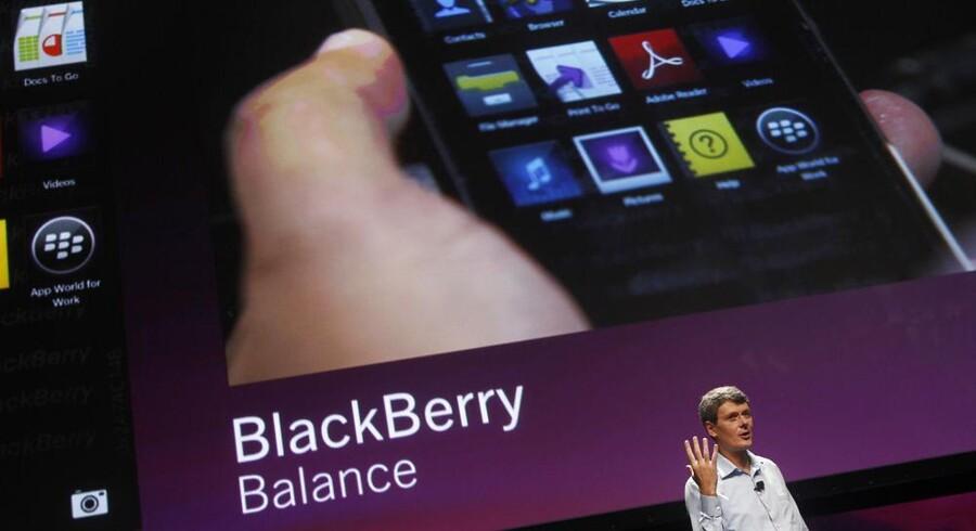 Blackberry-producenten RIMs topchef, Thorsten Heins, har måttet til lommerne forud for lanceringen af den nye Blackberry 10 i slutningen af januar. Arkivfoto: Robert Galbraith, Reuters/Scanpix