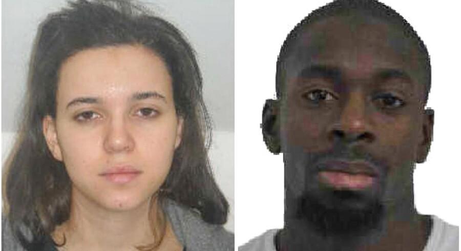 Splitbillede af Hayat Boumedienne og hendes nu afdøde kæreste, Amedy Coulibaly.