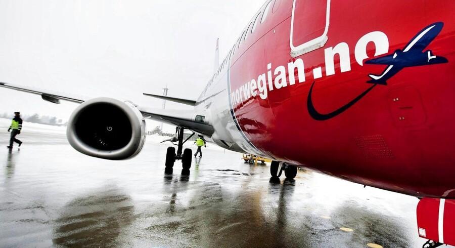 Hvis det ikke lykkes lavprisflyselskabet Norwegian at få løst en strid med piloterne om en fælles lønaftale inden onsdag, nedlægger selskabets skandinaviske piloter arbejdet. Foto: Rune Feldt Rasmussen/Scanpix.