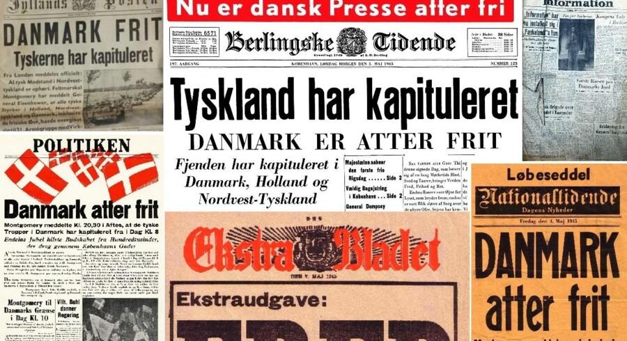 Sådan så et udvalg af de danske avisforsider og løbesedler ud i dagene omkring befrielsen 5. maj 1945. Klik dig videre for at se forsiderne i større format.