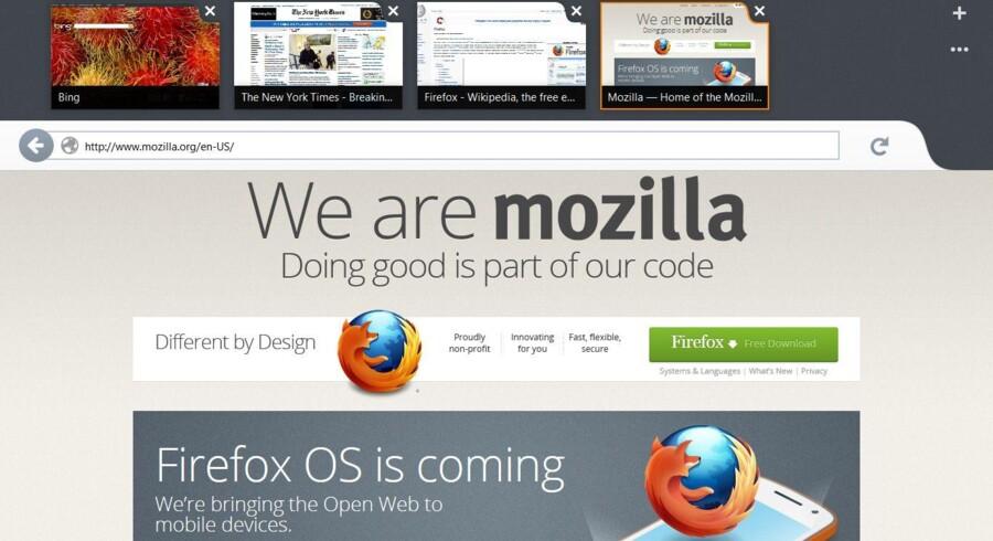 Mozilla har gennem halvandet år arbejdet på at gøre en Firefox-udgave klar til Windows 8, hvor den både kan bruge som app og som traditionelt skrivebordsprogram, sådan som Internet Explorer fra Microsoft også kan. Foto: Mozilla