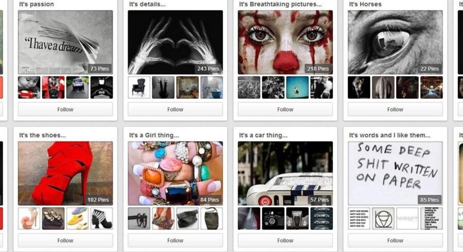 På den sociale digitale opslagstavle Pinterest kan de flotte, inspirerende ting, man finder på nettet og synes godt om, samles på ens egen opslagstavle. Det handler ikke kun om at dele egne kreationer, men også om at synes godt om og skubbe andres delinger videre.  Illustration: Skærmdump fra Pinterest.com