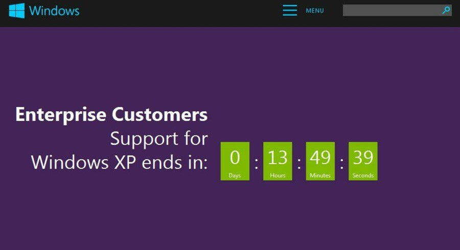 Der tælles ned på Microsofts netsted, og når 8. april er omme, er det slut med opdateringer til Windows XP, som kom i 2001.