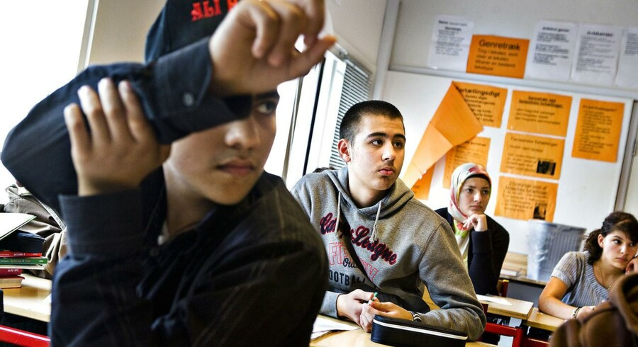 ARKIVFOTO. Strandgårdsskolen Ishøj - har lavet en masse initiativer for at styrke nydanske børn fagligt. Her er vi i en 9 klasse.