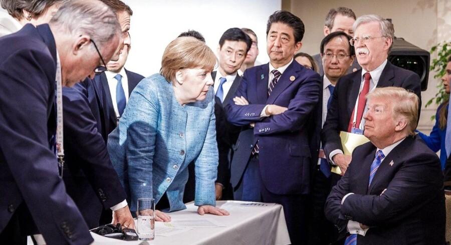 Billedet af regeringslederne ved G7-mødet i Quebec, Canada, taget af fotograf Jesco Denzel, blev lagt på Twitter af den tyske regerings talsmand Steffen Seibert den 9. juni 2018. Foto: AFP PHOTO / Bundesregierung / Jesco DENZEL