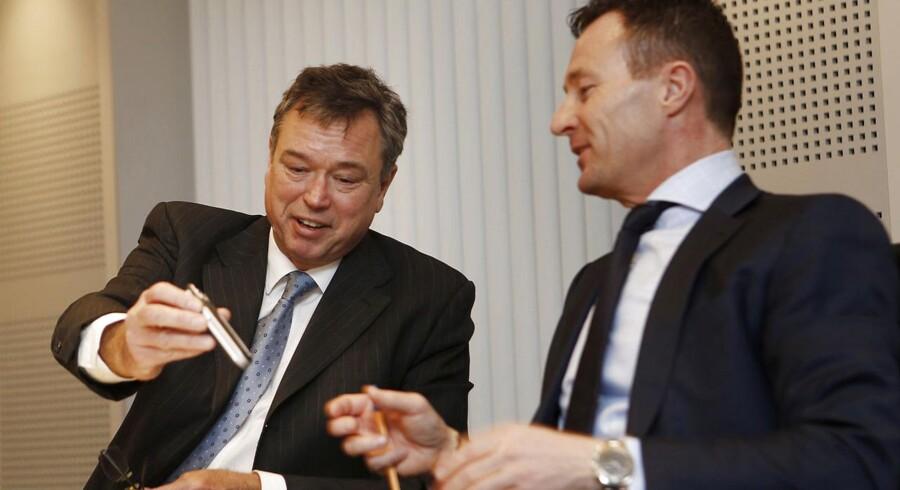Novozymes offentliggjorde i dag årsregnskabet for 2014 og der var plads til optimisme hos adm. direktør Peder Holck og finansdirektør Benny Loft (th.)