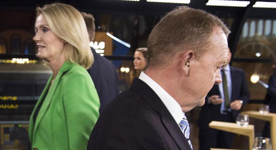 Partiledere mødes på hos TV2 Hovedbanegården. Lars Løkke Rasmussen (V)- og Helle Thorning-Schmidt (S).