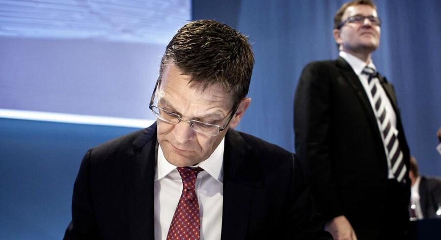 Bestyrelsesformand Ole Andersen og daværende ordførende direktør Eivind Kolding fotograferet ved Danske Banks generalforsamling i Tivolis Kongrescenter den 27.marts 2012.