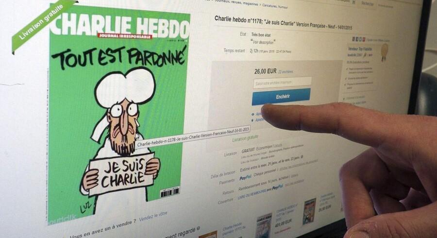 Der har været så meget rift om det nye Charlie Hebdo, at folk nu sælger magasinet for mange penge på eBay.