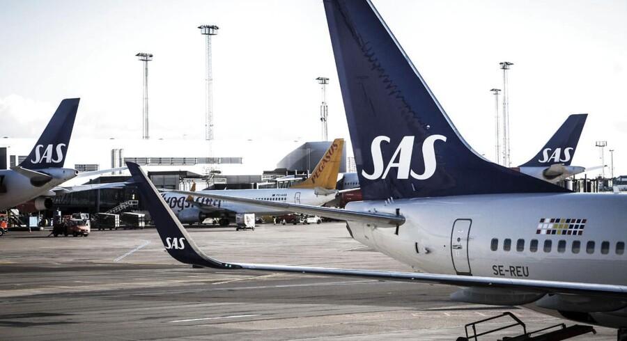 Arkivfoto. 75 SAS-ansatte er ikke mødt på arbejde lørdag morgen. Det betyder flere aflysninger i Københavns Lufthavn.
