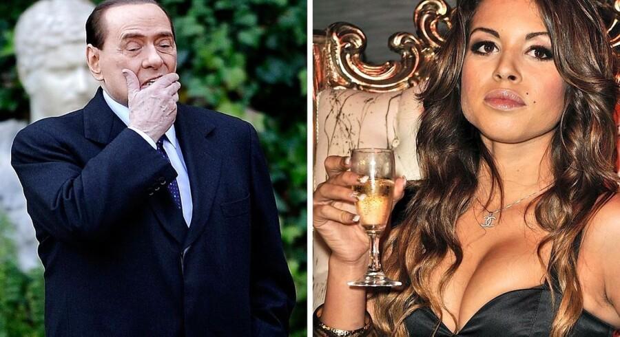 Silvio Berlusconi fotograferet ved Villa Madama i Rom og den marokkanske danserinde »Ruby«, Karima El Mahroug.
