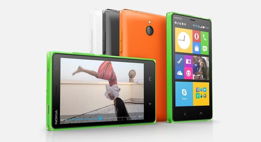Nokia X2 ligner umiddelbart de mange Windows-telefoner men er den første Android-telefon, efter at Nokia blev overtaget af Microsoft. Foto: Nokia