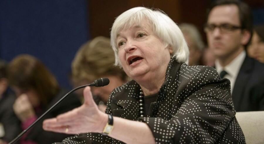 Investorerne vil holde øje med selv de mindste signaler og små ændringer i formuleringerne fra centralbankchef Janet Yellen, når Federal Reserve kommer med en meddelelse onsdag aften. AFP PHOTO/BRENDAN SMIALOWSKI