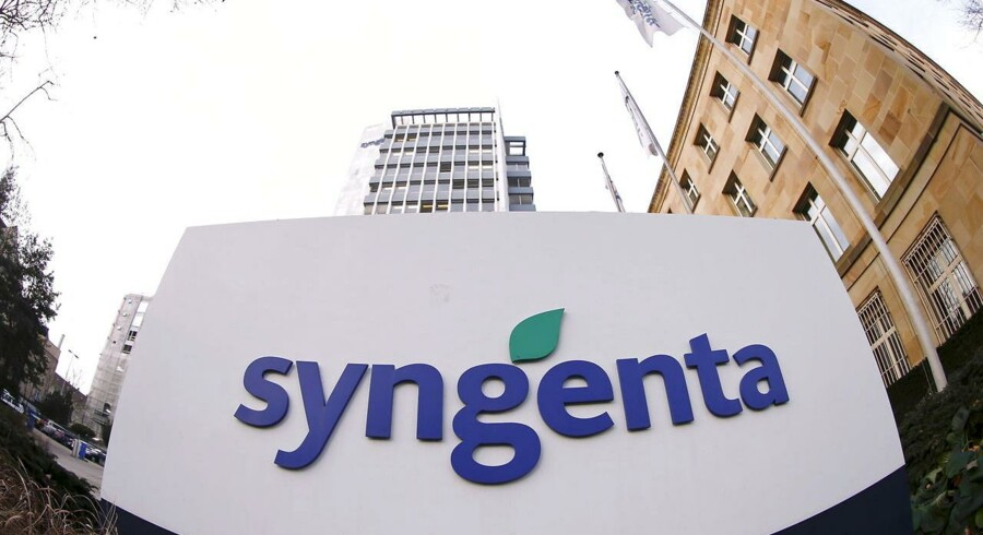Swiss agrochemicals maker Syngenta's logo is seen in front of its headquarters in Basel , in this February 4, 2015 file picture. Syngenta on May 8, 2015 rejected a 449 Swiss franc per share takeover offer from Monsanto, saying the offer undervalues the Swiss firm and does not fully take into account regulatory risks. REUTERS/Arnd Wiegmann