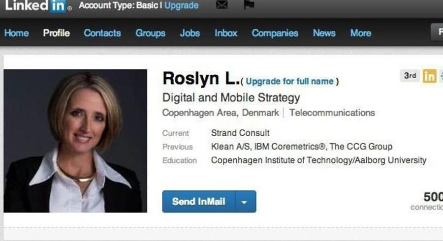 LinkedIn-karriereprofil på nettet.