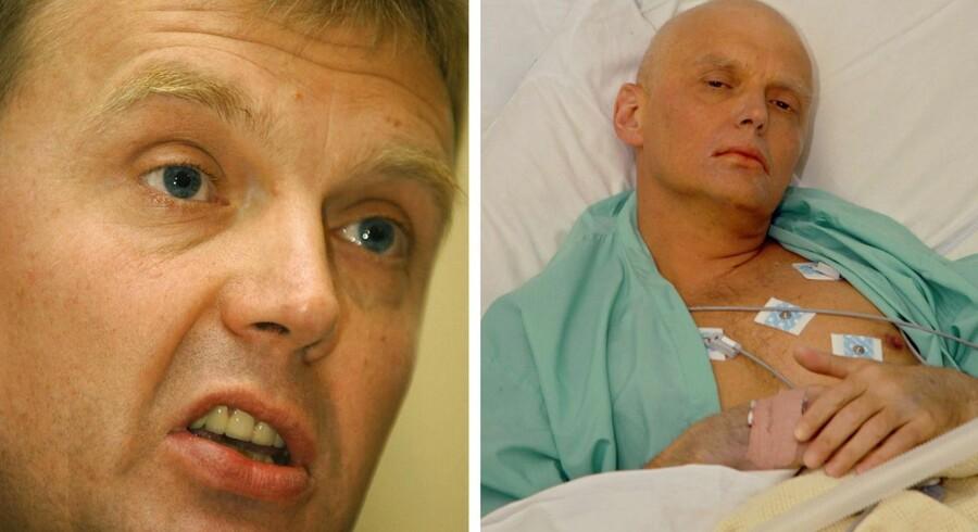 Alexander Litvinenko før han blev syg af det radioaktive stof Polonium og efter. Han døde på et britisk hospital 23. november 2006.