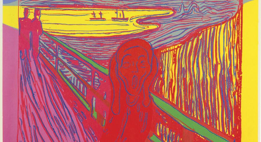 Allerede i Munchs egne grafiske værker er den aflange, åbne mund i »Skriget« tæt på parodien - og bedre bliver det ikke i Warhols version, hvor der også er skruet op for farverne. Motivet er hentet fra et ikke ligefrem opløftende sted uden for Oslo. Her kastede selvmordere sig i døden. Neden for broen lå et sindssygehospital og i nærheden et slagteri, og skrigene fra de indlagte blandede sig med brølene fra de dødsdømte dyr.
