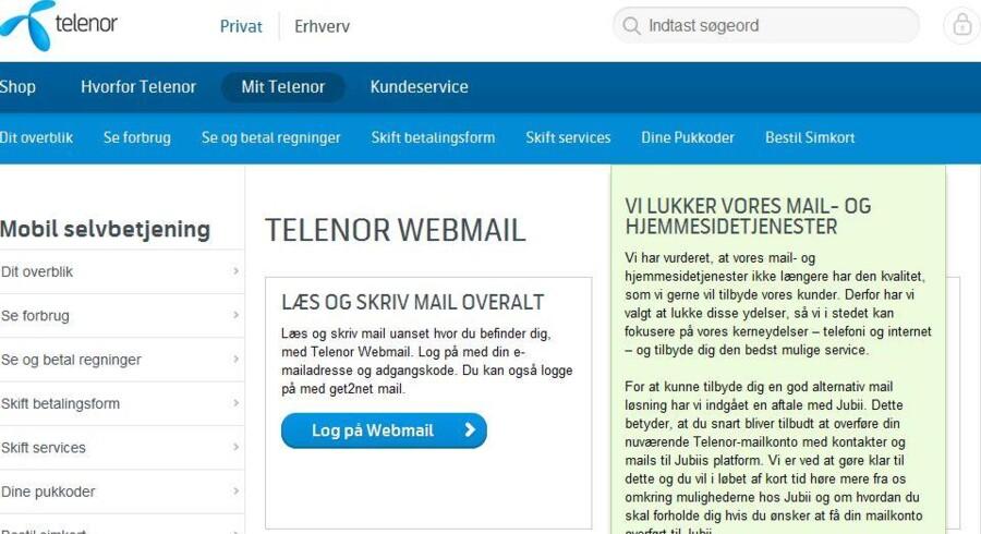 Telenor lukker frem mod juli hundredtusinder af gamle e-postadresser og hjemmesider. Nu har Jubii tilbudt at overtage, så folk ikke skal miste de adresser, som de har brugt i måske ti eller tyve år.