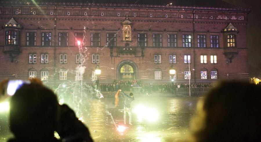 Nytårsaften 2014 på Rådhuspladsen i København.