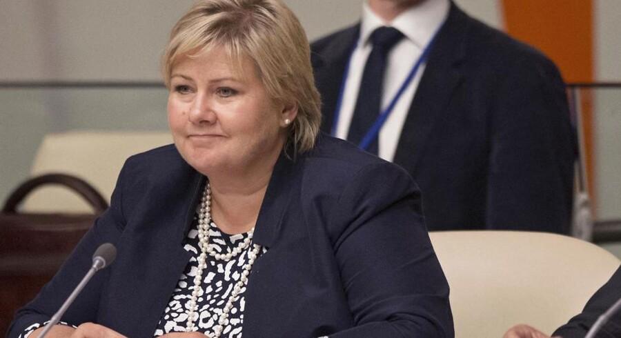 Norges statsminister Erna Solbergs regering vil styrke digitaliseringen af landet. Arkivfoto: Adrees Latif, Reuters/Scanpix