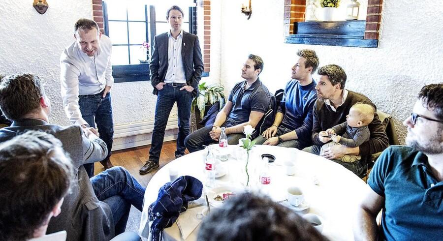 Piloter fra Norwegian holder møde på Air Pub i Kastrup i København, onsdag den 4. marts 2015, hvor de skal diskutere den igangværende strejke hos Norwegian. (Foto: Claus Bech/Scanpix 2015)