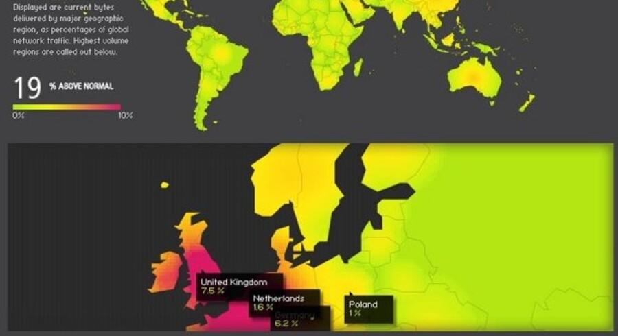 Internet-trafikken i verden lå fredag 19 procent over normalt niveau, viser Akamais oversigtskort, som løbende opdateres. De røde områder er, hvor trafikken er allerstørst.