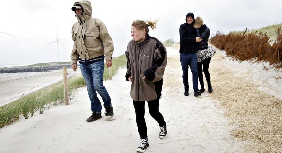 STORMVEJR: Søren Christensen og Puk Spangsberg fra Skjern er i sommerhus i Hvide Sande. De har besøg af Tomek Kozysa og Tina Pedersen, som til dagligt bor i London.De er på vej over klitten ned til Hvide Sandes sydstrand.