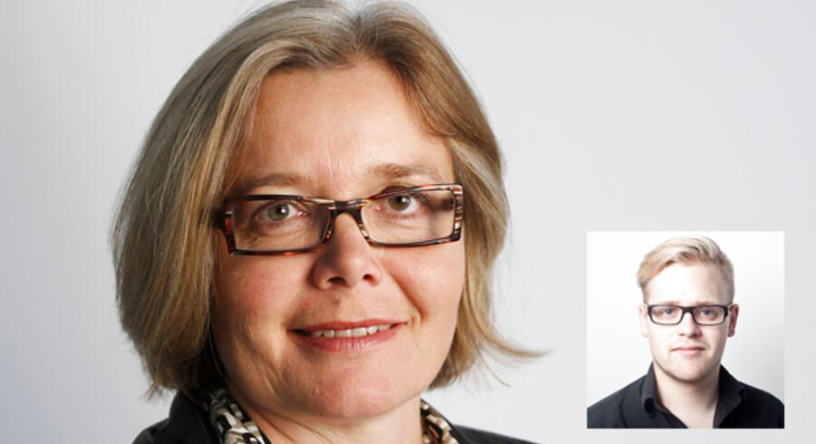 Afgående chefredaktør Suzanne Moll og tillidsmand for journalisterne, Rasmus Mark Pedersen (lille billede).