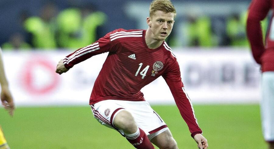 "Rumænien - Danmark, venskabskamp, Arena Nationala, Bukarest: Danmarks Anders ""AC"" Christiansen"