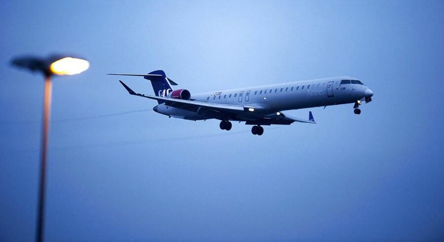 Det skandinaviske flyselskab SAS kan glæde sig over, at rekordmange passagerer fløj med selskabet i august. BV.: