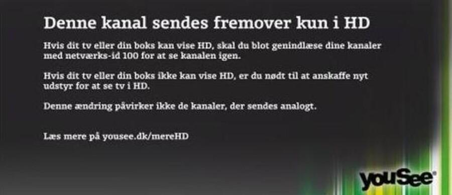Sådan vil der se ud på omkring 50.000 fjernsyn i Danmark i morgen tidlig, når YouSee slukker for MPEG2-signalet og går over til kun MPEG4- eller HD-signal overalt på 31 af de meget sete TV-kanaler. Foto: YouSee