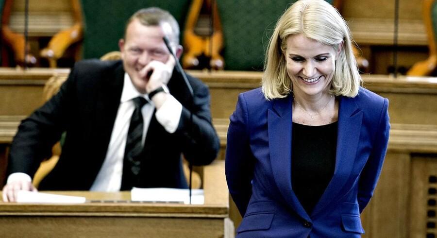 Helle Thorning-Schmidt og Lars Løkke Rasmussen under åbningsdebatten torsdag d. 9 oktober 2014 i Folketinget.