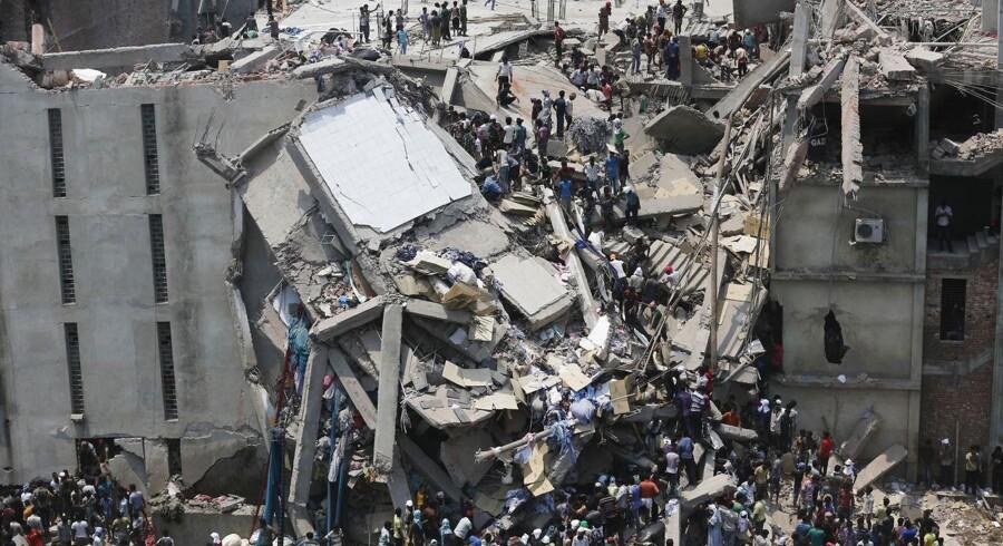 Den kollapsede tekstilfabrik i Rana Plaza-bygningen i Bangladesh